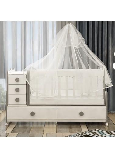 Garaj Home Garaj Home Melina Gri Uyku Setli Beşik Kombini/ Uyku Seti Beyaz Beyaz